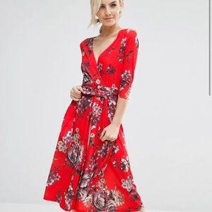 ASOS Crepe Midi Dress in Floral Print w/ Pockets !